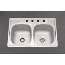 Double Bowl Sink, 9.5-In Depth, Topmount Installation, Whisper Quiet &# 153, 4-Hole, Minimum 36-In Cabinet Size