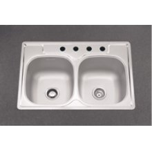 Double Bowl Sink, 9.5-In Depth, Topmount Installation, Whisper Quiet &# 153, 4-Hole, Minimum 36-In Cabinet Size