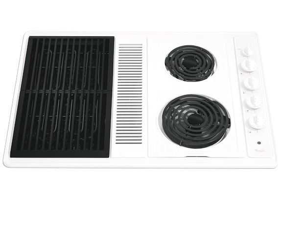 whirlpool 30inch electric coil downdraft cooktop hidden