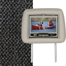 Dual Custom Headrest System with Built-in DVD Player. Chevy Trailblazer; GMC Envoy, Color is Medium Dark Pewter.