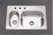 Large/Small Double Bowl 3 Faucet Holes Standard Series Double Bowl Top-Mount(Deck Silk/Bowl Silk)