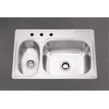Large/Small Double Bowl 3 Faucet Holes Standard Series Double Bowl Top-Mount(Deck Silk/Bowl Silk)