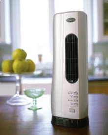 """Compact Desktop Tower Fan with Ionizer """" Silver/Black"""