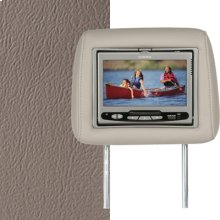 Dual Custom Headrest System with Built-in DVD Player. GMC Yukon Denali, Denali XL Color is Medium Neutral, Sandstone