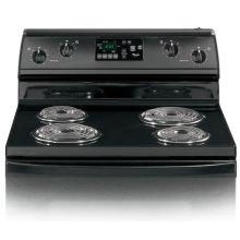 Black-on-Black 30-Inch Standard Clean Freestanding Electric High-Speed Coil Range