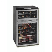 Model WC330DZB Separate Dual Zones Wine Cooler Designed for Separate Temperature Wine Storage - Holds 18 Bottles In Lower Zone And 10 Bottles In Top Zone - Color: Black Cabinet With Brushed Chrome Color Frame