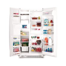 Stainless Steel 21.8 Cu. Ft. Side-By-Side Refrigerator ENERGY STAR® Qualified (This is a Stock Photo, actual unit (s) appearance may contain cosmetic blemishes. Please call store if you would like actual pictures). This unit carries our 6 month warranty, MANUFACTURER WARRANTY and REBATE NOT VALID with this item. ISI 32764