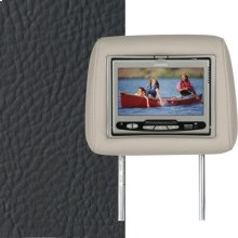 Dual Custom Headrest System with Built-in DVD Player. Range Rover, Color is Charcoal with Black Piping.