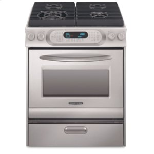 KitchenAid30 in. Width 4 Burners Porcelain Cooktop Convection Oven Architect® Series Gas Slide-In Range(Stainless Steel)