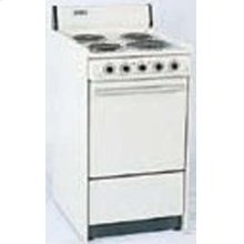 SUMMIT SEM110 is a 20 inch all-electric (220V) range with large deep oven and drop down storage beneath oven.  Made in USA