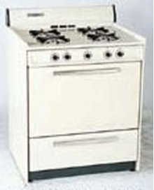 SUMMIT STM210 is a 30 inch gas range with pilot light ignition and a lower broiler compartment. Made in USA.