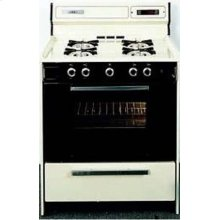 SUMMIT WTM2307DK is a 30 inch deluxe gas range with electronic ignition, clock with timer, black glass see-through oven door with oven light and large oven and a lower broiler compartment. Made in USA.