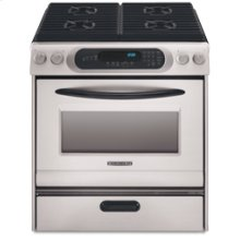 30 in. Width 4 Burners Porcelain Cooktop Thermal Oven Gas Slide-In Range(Black-on-Stainless)