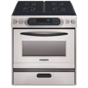 KitchenAid30 in. Width 4 Burners Porcelain Cooktop Thermal Oven Gas Slide-In Range(Black-on-Stainless)
