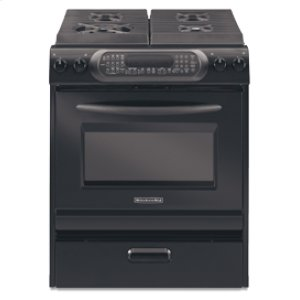 KitchenAid30 in. Width 4 Burners Porcelain Cooktop Convection Oven Architect® Series Gas Slide-In Range(Black)
