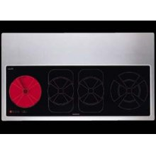 """36"""" glass-ceran electric cooktop with 4 cooking zones and large warming area"""