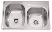 """Offset Combo Bowl Sink, 9.5 Inch Depth, Whisper Quiet"""", 1-Hole, Min 36 Inch Cabinet"""