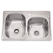 "Offset Combo Bowl Sink, 9.5 Inch Depth, Whisper Quiet"", 1-Hole, Min 36 Inch Cabinet"
