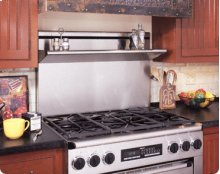 "Backguard for Epicure ER36D Range - Available in 24"", 9"" or 3"" heights with Stainless Steel finish. Note: Island Trim (AERB36D0) required if not installing a backguard."