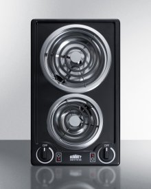 230v 2-burner Coil Cooktop In Black Porcelain; Made In the USA