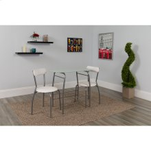 Sutton 3 Piece Space-Saver Bistro Set with White Glass Top Table and White Vinyl Padded Chairs