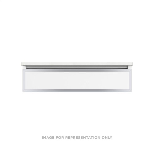"""Profiles 36-1/8"""" X 7-1/2"""" X 18-3/4"""" Framed Slim Drawer Vanity In Matte White With Chrome Finish and Slow-close Full Drawer"""