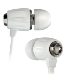 White in-ear stereo headphones by Bell'O Digital with in-line volume control and microphone, and slim protective case