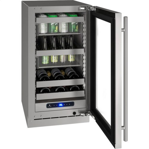 """5 Class 18"""" Beverage Center With Stainless Frame (with Lock) Finish and Left-hand Hinged Door Swing (115 Volts / 60 Hz)"""