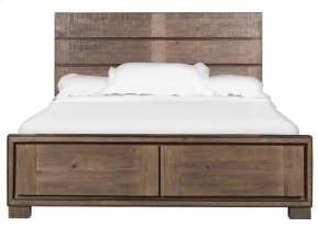 Complete Queen Metal/Wood Panel Storage Bed