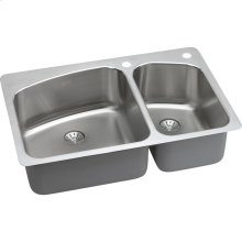 "Elkay Lustertone Classic Stainless Steel 33"" x 22"" x 9"", 60/40 Double Bowl Dual Mount Sink with Perfect Drain"