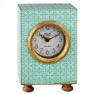 Mint Pattern Desk Clock with Gold Accent. Product Image