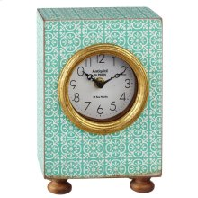 Mint Pattern Desk Clock with Gold Accent.