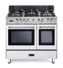 """White 36"""" Dual Fuel Convection Range with Double Oven"""
