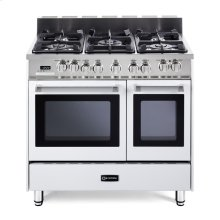 "White 36"" Dual Fuel Convection Range with Double Oven"