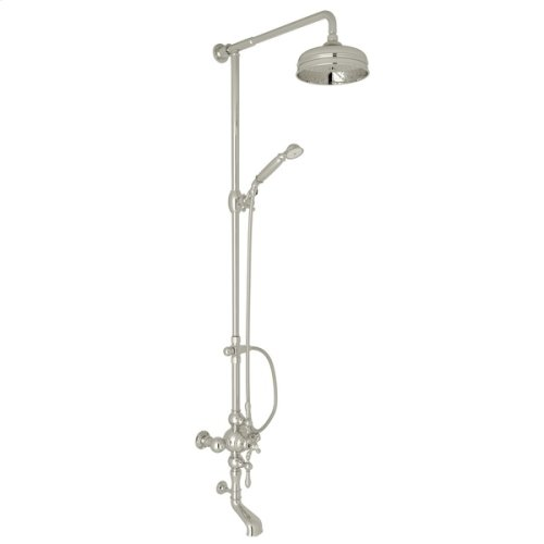 Polished Nickel Arcana Exposed Wall Mount Thermostatic Tub/Shower With Volume Control with Arcana Series Only Classic Metal Lever
