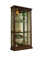 Lighted Sliding Door 4 Shelf Curio Cabinet in Cherry Brown Product Image