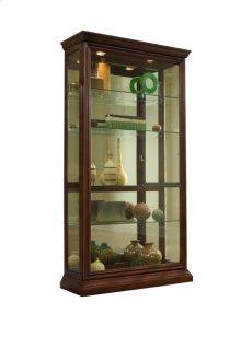 Lighted Sliding Door 4 Shelf Curio Cabinet in Cherry Brown