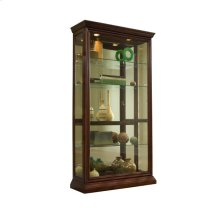 Lighted Sliding Door 4 Shelf Curio Cabinet in Cherry Brown