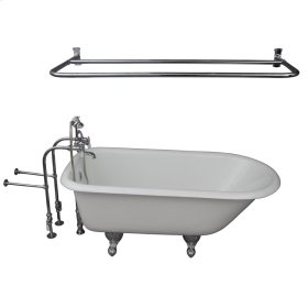 "Brocton 68"" Cast Iron Roll Top Tub Kit - Polished Chrome Accessories - White"
