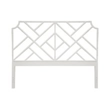 Chippendale Style King Bamboo Headboard In White Lacquer