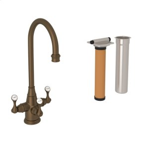 English Bronze Perrin & Rowe Georgian Era Filtration 3-Lever Bar/Food Prep Faucet with Etruscan Metal Lever