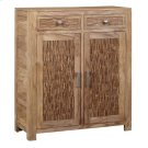 Bengal Manor Mango Wood 2 Drawer, 2 Door Strips of Wood Cabinet Product Image