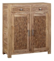 Bengal Manor Mango Wood 2 Drawer, 2 Door Strips of Wood Cabinet
