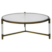 Amaris Acrylic Coffee Table Glass Top, Transparent/Brushed Brass