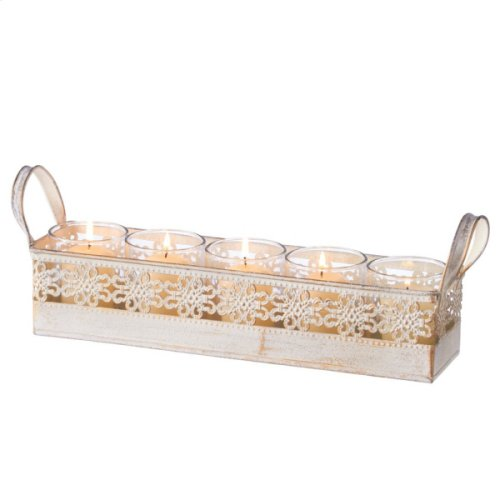 White and Gold Five Votive Holder Tray.