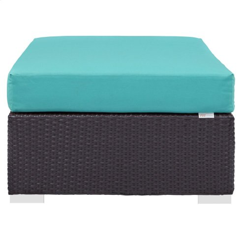 Convene Outdoor Patio Fabric Rectangle Ottoman in Espresso Turquoise