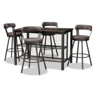 Baxton Studio Arcene Rustic and Industrial Antique Grey Faux Leather Upholstered 5-Piece Pub Set Product Image