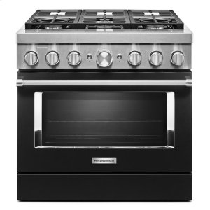 KitchenAidKitchenAid® 36'' Smart Commercial-Style Dual Fuel Range with 6 Burners - Imperial Black