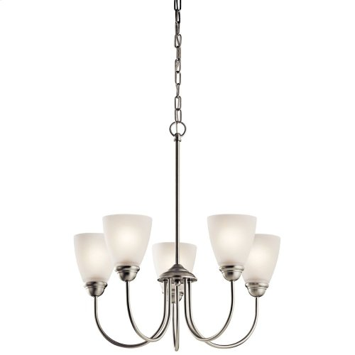 Jolie 5 Light Chandelier with LED Bulbs Brushed Nickel