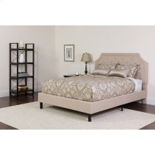 Brighton Full Size Tufted Upholstered Platform Bed in Beige Fabric
